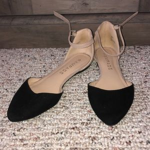 Black & cream flats with silver gems & ankle strap
